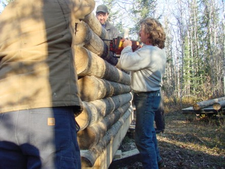 Marty using chainsaw to make two logs fit better. Click to enlarge.