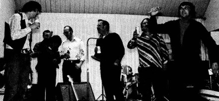 A Fling of Old: Pete Buist, Norm Phillips (back), Elaine Long, Al Jones, Ron Long, LeRoy Shank and Chuck Vogel. Click to enlarge.